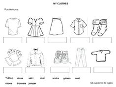 On Free Clothes Worksheets For Kindergarten Vocabulary Worksheets, Kindergarten Worksheets, Printable Worksheets, English Vocabulary, Printables, English Worksheets For Kids, English Activities, English Lessons, Learn English