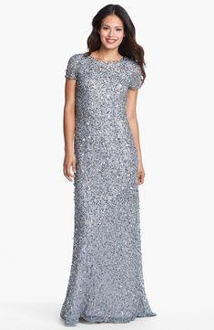 Short Sleeve Sequin Mesh Sheath Mother of the Bride Dress
