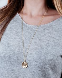 Gold Coin Necklace Sterling Silver Coin Necklace Boho