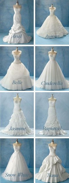 OMG DISNEY PRINCESS WEDDING DRESSES!!!!!!!!
