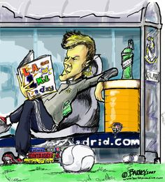 """""""David Beckham"""" contemplates in this caricature done before his arrival in Los Angeles...Now where will he go???"""