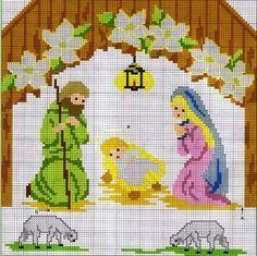 Resultado de imagem para santas family cross stitch
