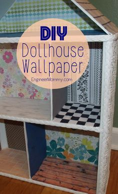 Doll house wallpaper DIY Dollhouse Part Adding Wallpaper and Flooring features a tutorial for mak Homemade Dollhouse, Diy Dollhouse, Haunted Dollhouse, Miniature Dollhouse, Doll House Wallpaper, Diy Wallpaper, Diy Barbie Furniture, Dollhouse Furniture, Furniture Box