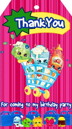 SHOPKINS BIRTHDAY THANK YOU TAG- Note: this is an Instant Download (.jpeg file) Nothing is physically sent to you! This cute SHOPKINS style