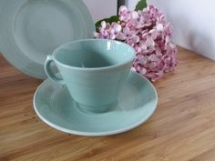 Woods Ware Beryl Teacups, Saucers & Cake Plates in Green.Utility Ware Vintage Post War Collectable Tea Trio 7 sets Available Cake Plates, Tea Cup Saucer, Teacups, Shades Of Green, Sale Items, 1940s, Tea Party, Woods, Pottery
