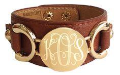 Monogrammed Brown Genuine Leather Cuff Bracelet