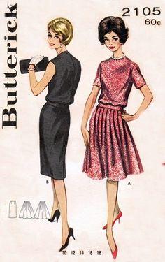 Butterick 2105 Yummy Two-Piece Sheath Dress / ca. 1961
