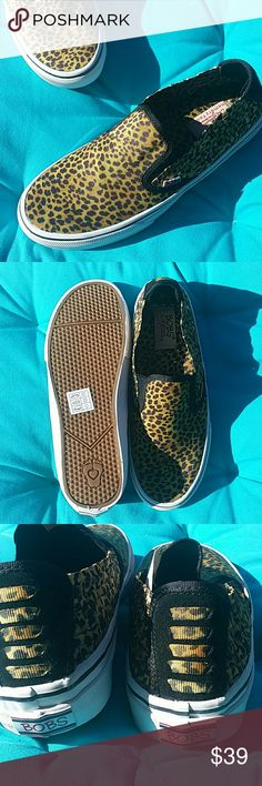 BOBS Skechers Leopard Slip-Ons 8 With comfy Memory Foam insole! Sooooo cute! :)  More BOBS in my closet! Bundle & Save! Skechers Shoes Flats & Loafers