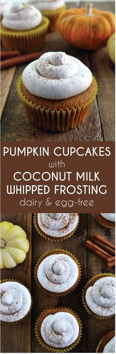Vegan Pumpkin Cupcakes - Try this easy and delicious pumpkin and spice filled treat this fall! It's topped with a coconut milk whipped cream to make this cupcake reminiscent of pumpkin pie. (easy desserts to make whipped topping) Cupcake Recipes, Baking Recipes, Cupcake Cakes, Dessert Recipes, Vegan Cupcake Recipe Easy, Healthy Cupcakes, Pie Recipes, Cake Cookies, Brownie Desserts