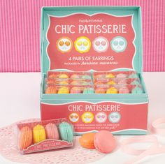 Curb your sweet tooth with style. Set of four brightly colored macaroons with matching ball earrings inside.    We ship Worldwide!  www.TheShoppingBagStore.com    #Macaroon  #Valentine