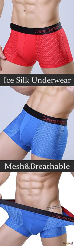 US$8.55+Free shipping. Men's Underwear, Breathable Underwear, Ice Silk, Mesh, Antibacterial, U Convex Pouch, Material: 95%Nylon+5%Spandex. Color: Black, White, Royal Blue, Blue, Dark Gray, Red, Purple.