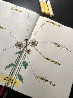 Bullet journal weekly spread, sunflower theme