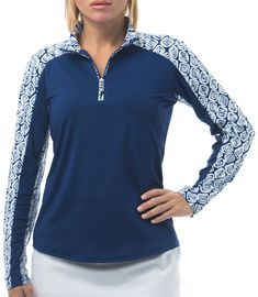 Check out what Loris Golf Shoppe has for your days on and off the golf course! SanSoleil Ladies & Plus Size SolCool Long Sleeve Mock Print Trim Golf Shirts - Marquise Navy