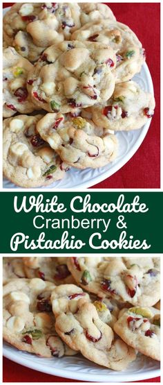 White chocolate, cranberries (or cherries) and pistachios.The three traditional Christmas colors wrapped up in one incredibly delicious cookie! The three traditional Christmas colors are wrapped into one incredibly delicious cookie! Köstliche Desserts, Delicious Desserts, Yummy Food, Dessert Recipes, Plated Desserts, Xmas Cookies, Yummy Cookies, Brownie Cookies, Gourmet Cookies