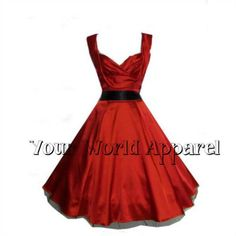 Hearts & Roses London Red Satin Swing Dress offers a flattering, feminine cut that nips in at the waist and flares dramatically in a style silhouette. Pin Up Outfits, Pretty Outfits, Pretty Dresses, Vintage Red Dress, Retro Dress, Vintage Style, 50s Vintage, Swing Dress, Dress Up