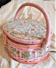 Sewing basket, wicker basket, small storage box, crafts organizer, pink sewing basket, wicker contai