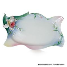 FZ01968 Franz Porcelain Tea for Two Orchid Flower large tray special order