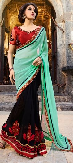 708309 Black and Grey, Green  color family Embroidered Sarees, Party Wear Sarees in Faux Georgette fabric with Lace, Machine Embroidery, Resham, Thread work   with matching unstitched blouse.