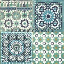 Marokkaanse tegels blauw turquoise behang BA2503 Trendy - Hip Dutch Wallcoverings