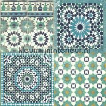 Marokkaanse tegels blauw turquoise behang BA2503 Trendy - Hip Dutch Wallcoverings
