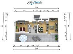 Grundriss der 2-Zimmer Wohnung mit Sonnenbalkon.
