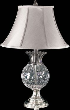 """0-032741>29""""""""h Adriana Crystal Table Lamp Antique Pewter"""