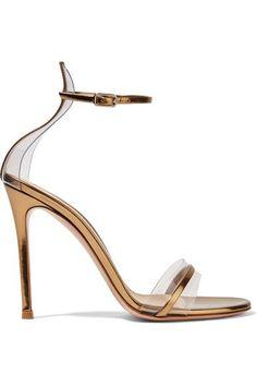 Gianvito Rossi - Portofino 100 Pvc-trimmed Metallic Leather Sandals - Gold