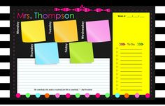"""editable Dry Erase Large Weekly Deskpad 11"""" X 17"""" plus Classroom posters For Teachers, School Counselors, Speech Therapists, Principals, Specialists, Pschologists, School nurse, and more."""