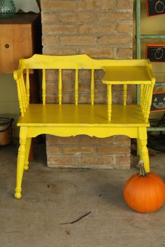 Primitive & Proper: My Color Inspired by Pantone Paint Party: A Dresser with Hand Painted Chevron Knobs and Yellow Gossip Bench