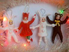 """Купить Ёлочные игрушки из ваты, серия """"Дети на празднике"""" - авторская ручная работа, елочные игрушки"""