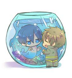 Free! - Iwatobi Swim Club, haruka nanase, haru nanase, haru, nanase, free!, iwatobi, makoto tachibana, makoto, tachibana, merman, firefighter