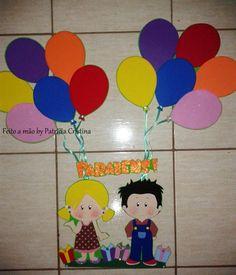 Painel em e.v.a, ideal para sala de aula. <br>Tema: meninos <br>Altura: +- 82 com balões <br>Obs. Modelinho, fitas e cores podem sofrer pequenas alterações.