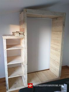 Open wardrobe with pallets
