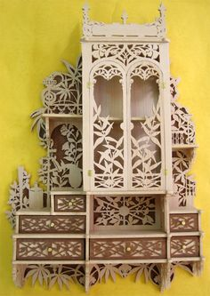 Home pharmacy cabinet, scroll saw fretwork pattern