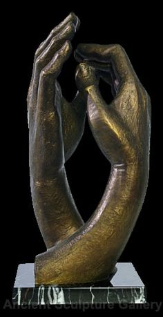 Auguste Rodin Cathedral Clasping Hands Sculpture Statue