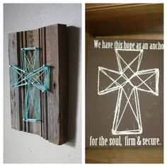 Nail and string art. One time I did this and spray painted the wood and did the string in octagon shape. Now I want to try it with a cross.