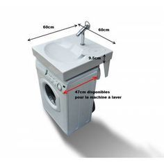 Space-saving washbasin, designed to be installed above a washing-machine. Maximum space-saving in a small bathroom ! Compact Bathroom, Tiny House Bathroom, Bathroom Design Small, Laundry In Bathroom, Dyi Bathroom, Bathroom Remodeling, Bathrooms, Bathroom Flooring, Small Washing Machine