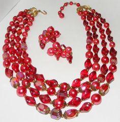 Vintage Trifari Multi 4 Strand Glass Plastic Bead Necklace Earrings Set Demi | eBay