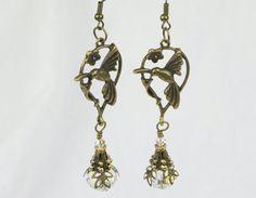 Antique Gold  Crystal Hummingbird earrings by by BridgetBlue, $19.95