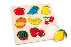 Met de verschillende kleurige vormen oefenen kinderen hun motoriek en het vormbegrip. Van multiplex stevig vervaardigd zijn de vruchten en het legbord.