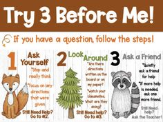 Try Three Before Me Posters (Ask Three) Woodland Animal Theme Clip Art Woodland Animals Theme, Grade 2, Teaching Ideas, Clip Art, Posters, This Or That Questions, Prints, Second Grade, Poster