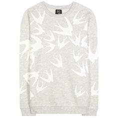 McQ Alexander McQueen Embellished Cotton Sweater (400 CAD) ❤ liked on Polyvore featuring tops, sweaters, grey, gray top, cotton sweater, embellished sweater, grey sweater e grey top