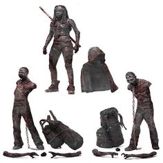 Walking Dead TV Bloody Black-and-White Michonne and Zombies - McFarlane Toys - Walking Dead - Action Figures at Entertainment Earth