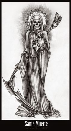Santa Muerte by Cthulhu-Great on DeviantArt Evil Tattoos, Skeleton Tattoos, Skull Tattoos, Body Art Tattoos, Sleeve Tattoos, Skull Tattoo Design, Tattoo Design Drawings, Tattoo Sketches, Grim Reaper Art