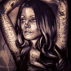 Tattooed girl artwork by Big Gus.