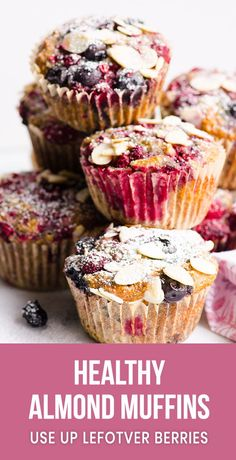 Healthy Snacks Easy and healthy Almond Muffins Recipe with ground almonds, whole wheat flour and fresh of frozen blueberry or cherry. They are gone in 1 day every time I bake them. Cherry Recipes Healthy, Cherry Desserts, Almond Recipes, Blueberry Recipes, Muffin Recipes, Baking Recipes, Cake Recipes, Dessert Recipes, Flour Recipes