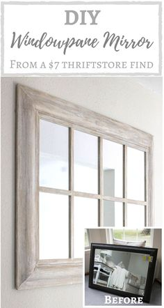 creating simple beauty on a budget: home decor and DIY Window Pane Mirror, Mirror Door, Ikea Mirror, Diy Mirror, Mirror Makeover, Door Makeover, Ikea Picture Ledge, Farmhouse Mirrors, Simply Beautiful