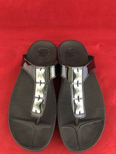 a846b7a955b8 Fitflop Pietra Walkstar Womens Black Jeweled Slip On Thong Sandals Size 8   fashion  clothing