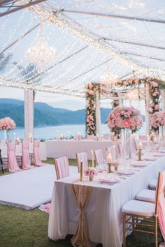 Pink reception filled with lights