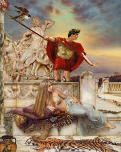 """""""Helen and Paris""""The Trojan War resulted when Paris, the prince of Troy carried her off during the reign of her husband the Spartan King Menelaus. Here Helen has just seen the sea lights of her husband's enormous amphibious  invasion fleet on the horizon. To recover Helen, the Acheans under Agamemnon, brother of Menelaus lay ferocious siege to Troy to no avail for ten years until Hector was killed by Achilles and he by in turn by Paris with a poisoned arrow in his one vulnerable spot - ."""